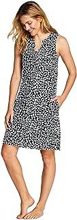 4bfe20b3afe Lands' End Women's Cotton Jersey Sleeveless Tunic Dress Swim Cover-up Print