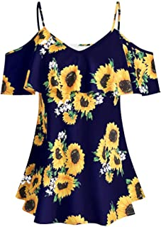Shirts Blouses for Women Plus Size Hosamtel Off Shoulder Ruffle Sunflower Floral Print Spaghetti Strap Casual Blouse Tops