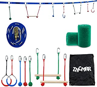 ZNCMRR Outdoor Backyard Ninja Line Hanging Obstacle Course,Ninja Warrior Training Equipment for Kids,40 FT Slackline Kit with 2 Monkey Bars,2 Gymnastic Rings &3 Fists