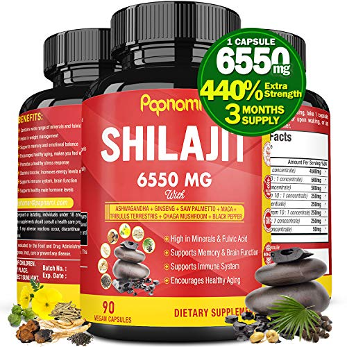 Organic Shilajit Extract Capsules 6550mg with Ashwagandha, Ginseng, Saw Palmetto, Maca, Tribulus, Chaga, Black Pepper|Trace Minerals Fulvic Acid|Immune Support, Brain Boost Supplement, 3 Months Supply