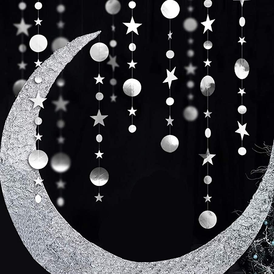 Lacheln Star Circle Dots Garland Glitter Hanging Banner Paper Party Decorations for Birthday Party Wedding ,Silver