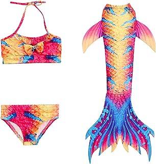 amropi Niña Bikini Bañadores Conjuntos Traje de baño Cola Sirena Verano para Cosplay 3 Piezas (por 4-14 años)