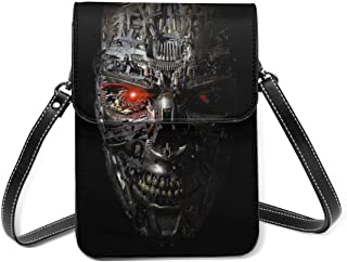 XCNGG Monedero pequeño para teléfono celular Terminator Robot Genisys Black Small Crossbody Coin Purse Phone Purse Mini Ce...