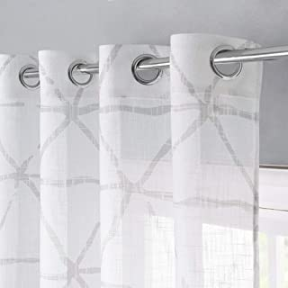 StangH Privacy Grommet Sheer Linen Curtains Pair Geometric Pattern Light Filtering Prevent Direct Sun Exposure Semi Transparent Sheer Curtain Panels, Chateau Gray, W52 x L45 inches, 2 Panels