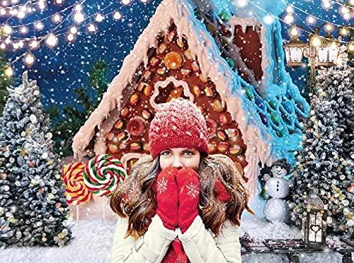 lovedomi 3 x 2 m Glitter Noche de Invierno Navidad Copo de Nieve Bokeh Lollipop Gingerbread House Fotografía Fondo Foto Estudio Caseta Familiar Vacaciones Cumpleaños Estudio Props Material Vinilo