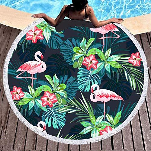 BCDJYFL Secado Rápido Toalla De Playa Flamenco Rectángulo Manta De Verano Playa Compacto Resistente A La Arena Seque Rápidamente Yoga O Viajes.-Diámetro: 150Cm