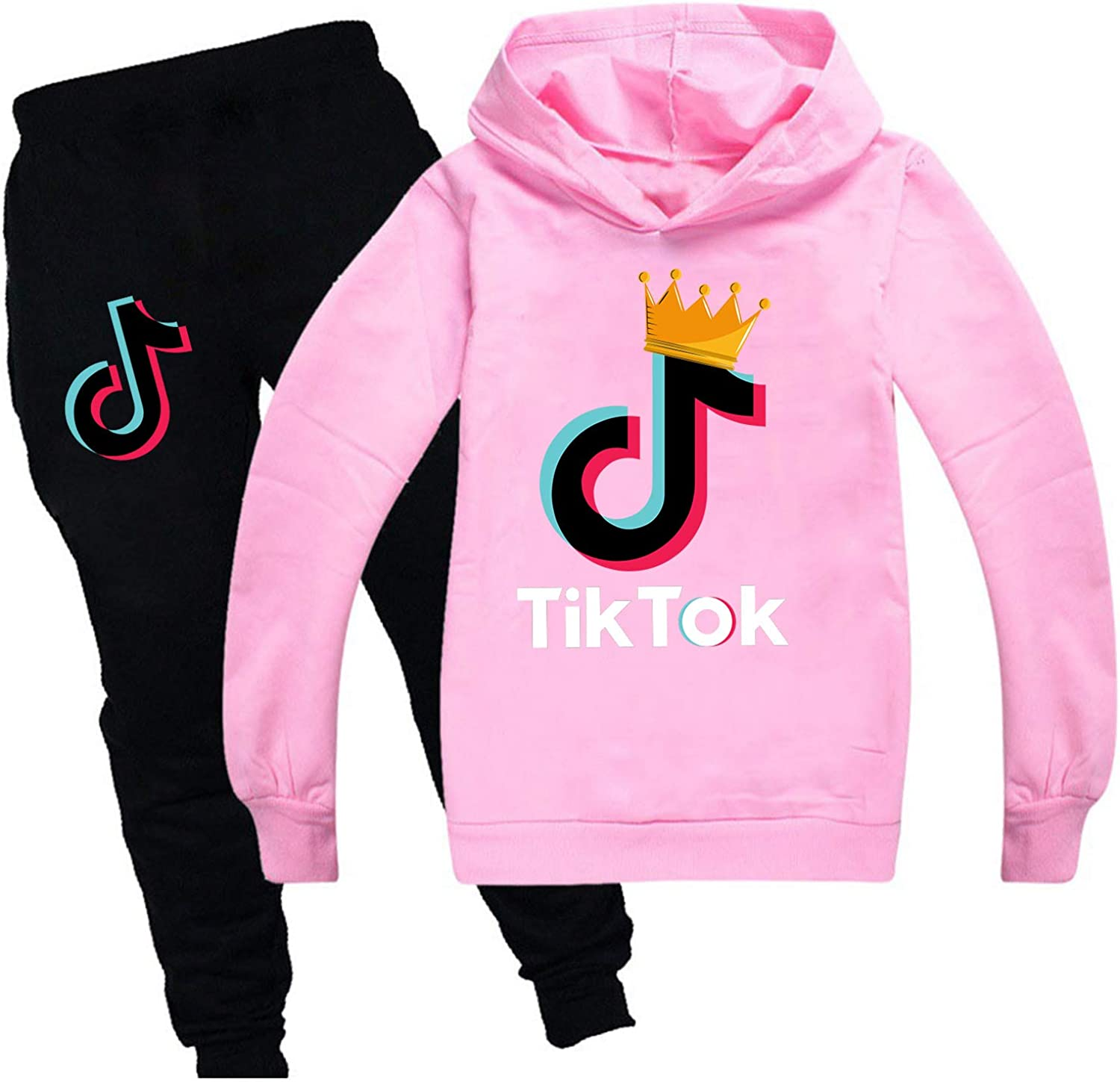 Youth Boys Girls Pullover Hoodie and Sweatpants Suit 2 Piece Outfit Fashion Sweatshirt Set