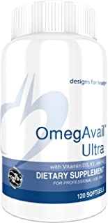 Designs for Health OmegAvail Ultra TG - Fish Oil 1200mg with Vitamin D3, K1 + K2 - Omega 3 Fish Oil (120 Softgels)