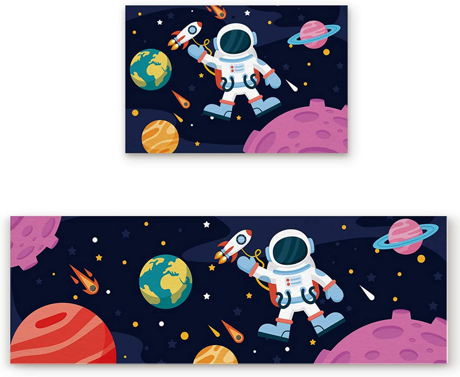 SODIKA 2 Pieces Kitchen Rug Set,Non-Skid Slip Washable Doormat Floor Runner Bathroom Area Rug Carpet,Space Exploration Creative Astronaut Illustration Moon Travel Pattern (19.7x31.5in+19.7x63 inches)