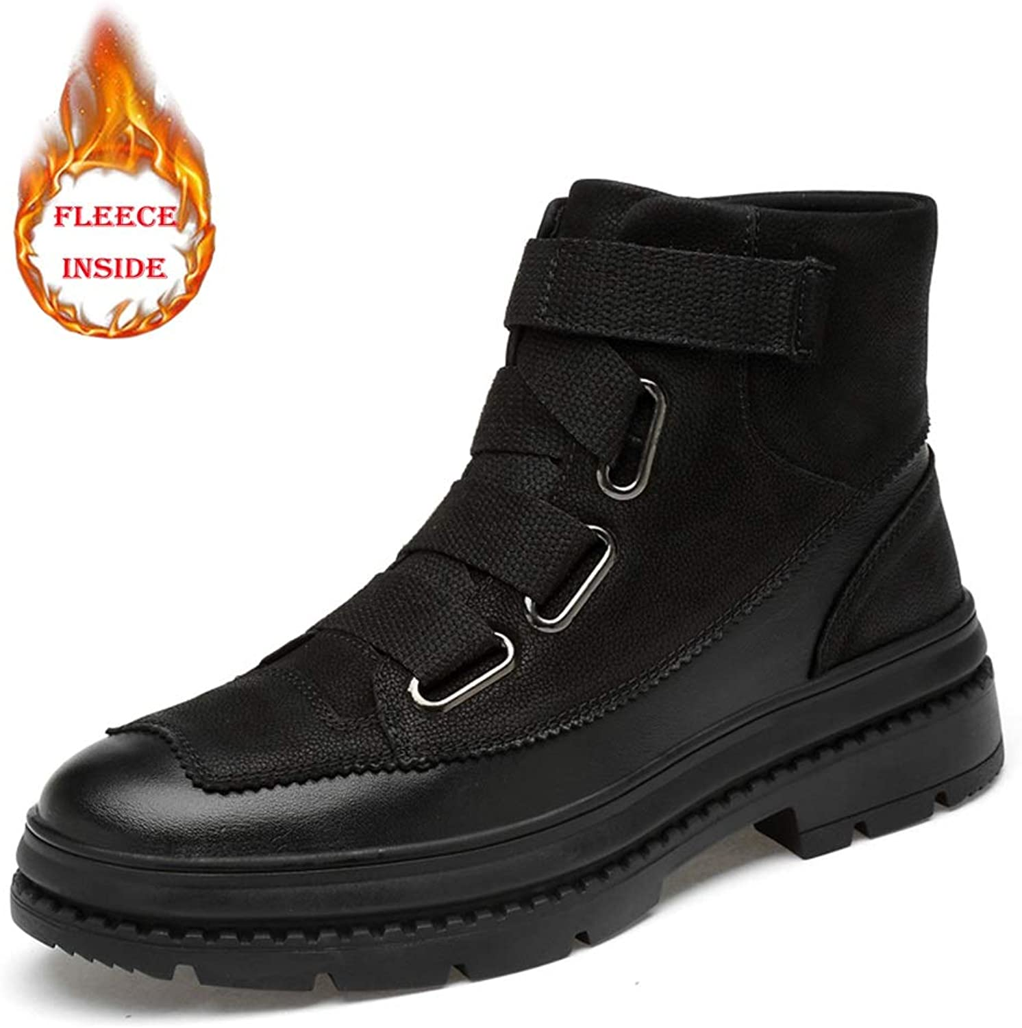 Shuo lan Men's Fashion Ankle Boots Leisure Classic Comfort High Top Outdoor Outsole Martin Boots(Fleece Lined Optional)