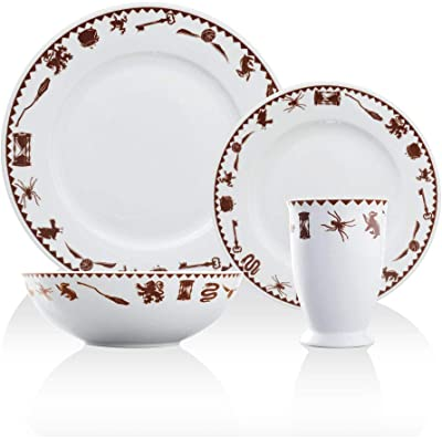 Harry Potter Icons 4 Piece Porcelain Dinner Set, Includes 2 Plates, 1 Cup, and 1 Bowl