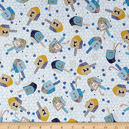 QT Quilt Fabrics Happy Hanukkah Dreidels White