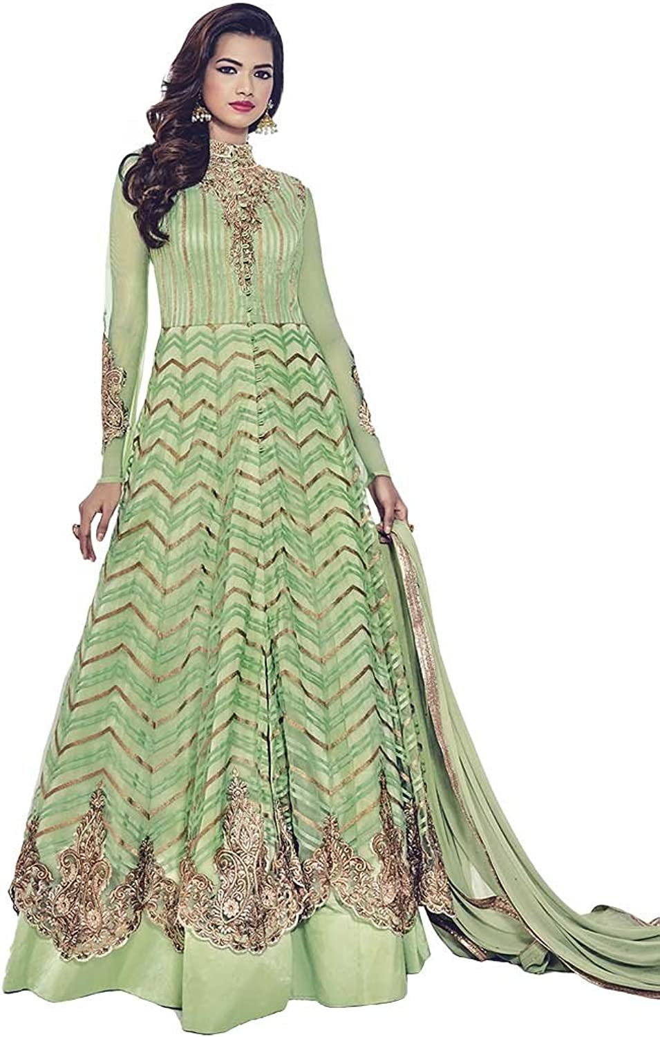INMONARCH Womens Partywear Green Embroidered Anarkali Suit SLRD1536