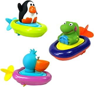 Pull String Baby Bath Toys NUOLUX 3pcs Animals Floating Boat Toy