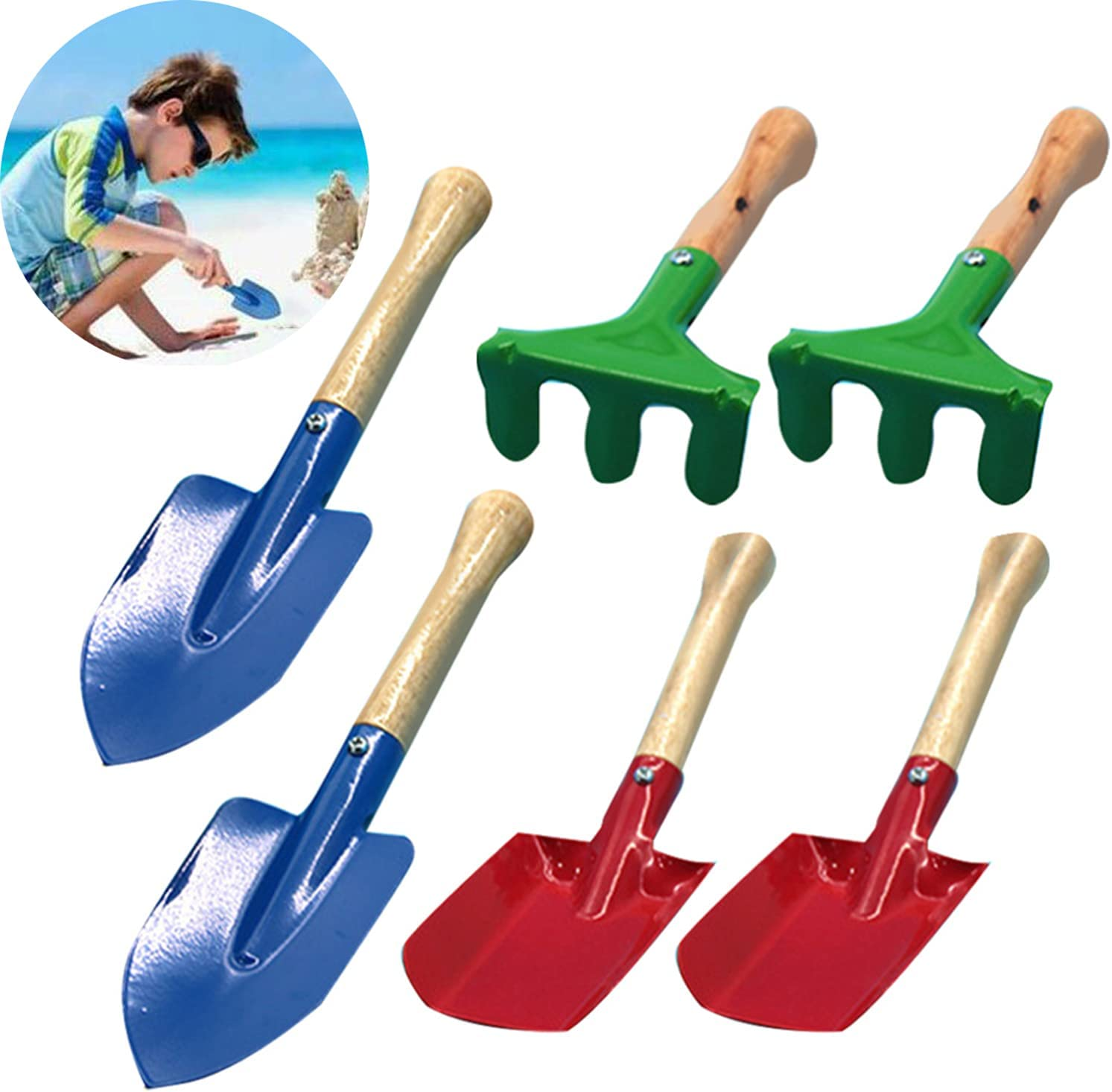 6 Pcs Kids Gardening Tools Set, Made of Metal with Sturdy Wooden Handle, 7 Inches Safe Toy Gardening Equipment Trowel, Rake & Shovel for Beach Sand, Sandbox and Soil Hand Tool for Kids : Toys & Games