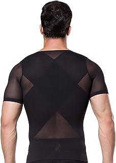 Camiseta Reductora Moldeadora para Hombre con Manga Corto T-Shirt Deportes Sport con Cremallera Transpirable de Malla Elástico para Fitness Gym