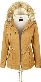 women's mustard coat with fur hood