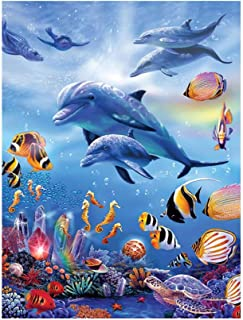 Pan source DIY 5D Diamond Painting Kits Full Drill Diamond Embroidery,11.81 X 15.75 Inches,Christmas Painting Cross Stitch(Ocean World)