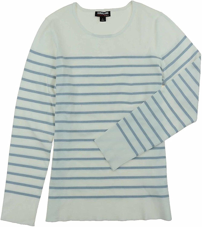 Kirkland Signature Womens Long Sleeve Crew Neck Striped Sweater (Size XXL, color White Grey)