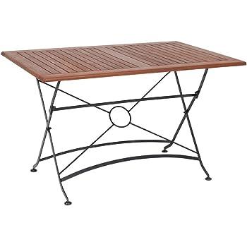 greemotion Outdoor Klapptisch Borkum, 120 x 80 cm Design Gartentisch im Landhaus Stil Tisch klappbar aus Holz & Stahl Kombination Holztisch
