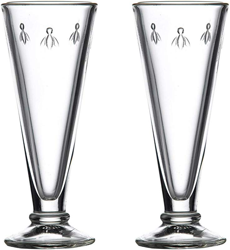 La Rochere Champagne Glasses Set Of 2 Napoleon Bee 5 Oz Toasting Flute Clear Stemless Goblet For Sparkling Wine Bellini Mimosa Great Wedding Engagement Party Birthday Gift Durable Glassware