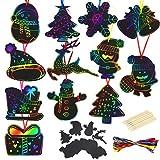 BELIOF Lote de 48 piezas de tarjetas navideñas para rascar Art Noel, regalos navideños para niños, niñas, niños, manualidades, 12 estilos, reno, muñeco de nieve, abeto, Cloche