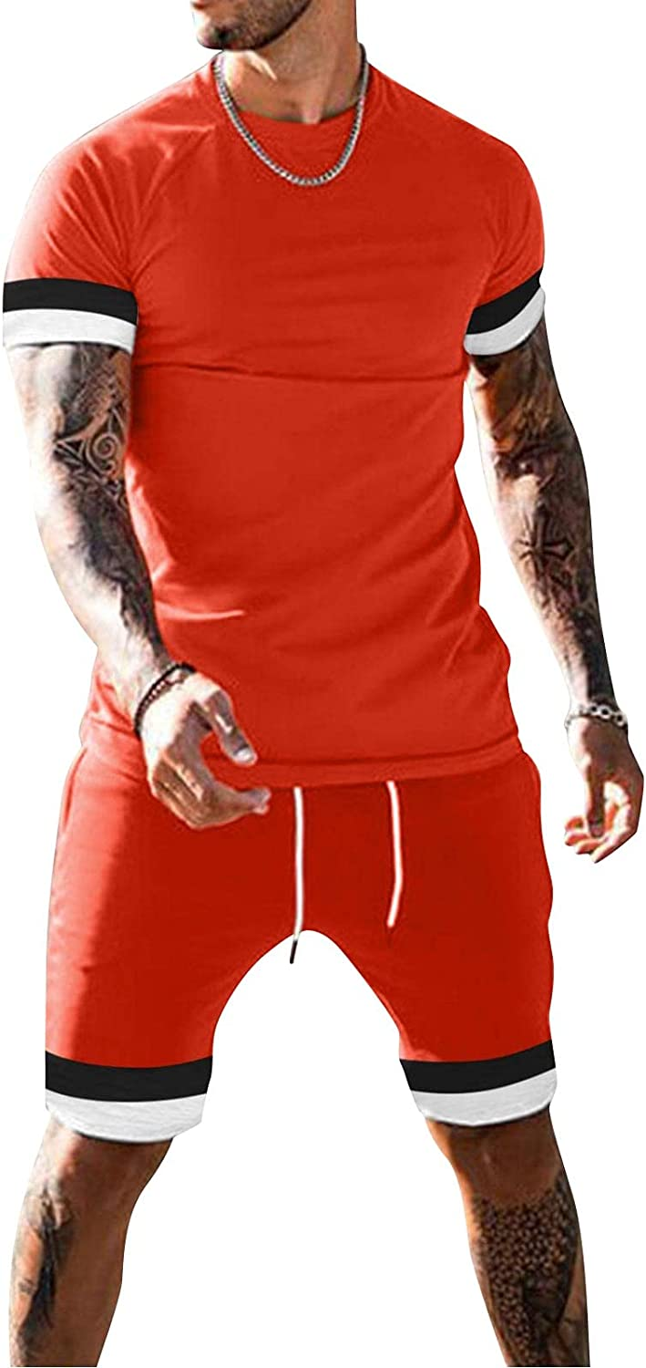 FUNEY Men's Tank and Shorts Set 2021 Summer Beach Crew Neck Fashion Cool Hippie Shirts Casual Sleeveless Suit for Men
