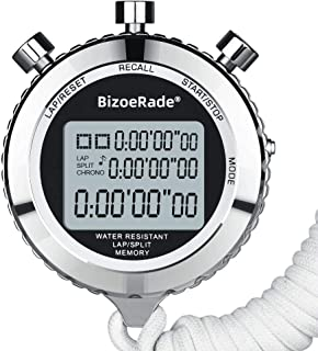 BizoeRade Silent Stopwatch,  Metal Digital Sports Stopwatch with Countdown Timer,  100 Lap Memory,  Large Display,  Alarm Clock