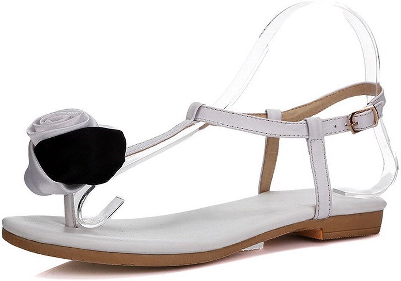 AmoonyFashion Women's Buckle Split Toe Low Heels Solid Sandals