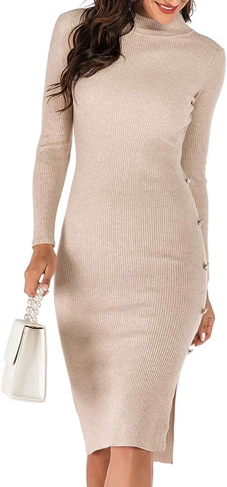 White Long Sleeve Mid Length Dresses,long sweater dress,long sweater dress,