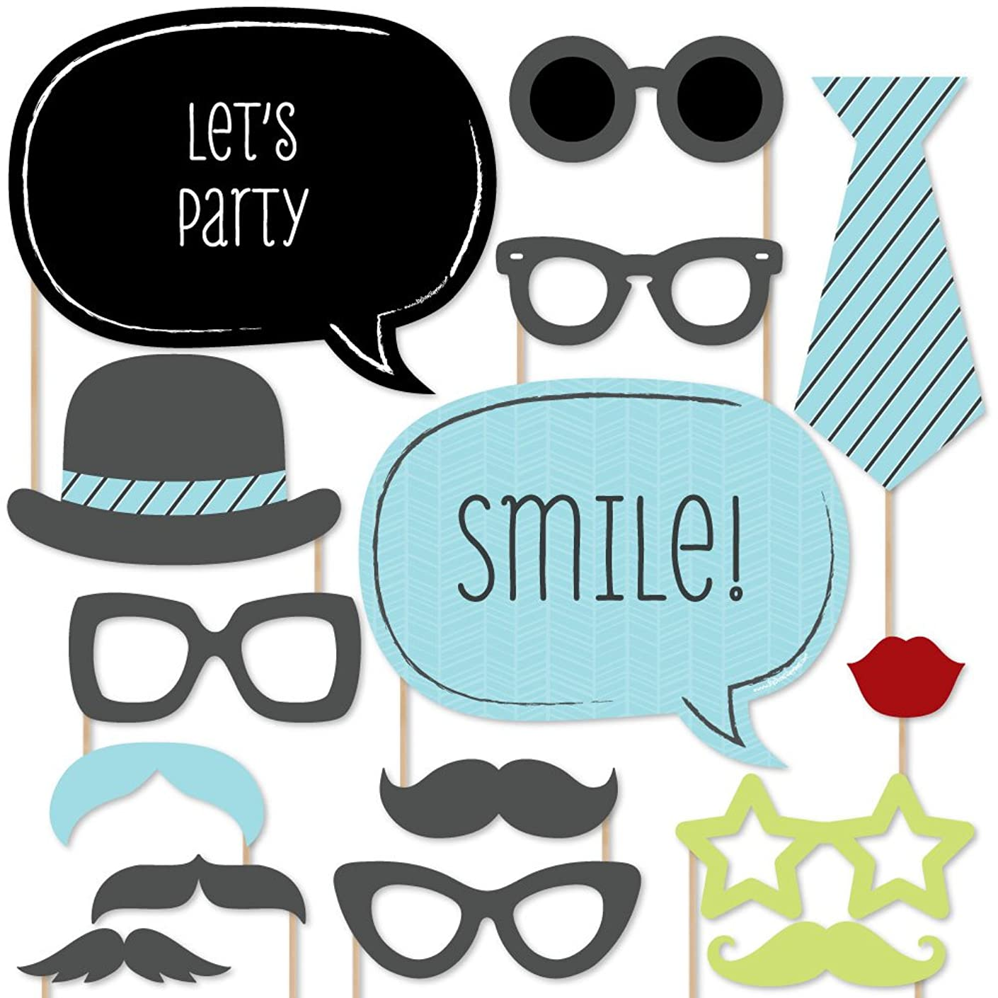 Big Dot of Happiness Dashing Little Man Mustache Party - Photo Booth Props Kit - 20 Count