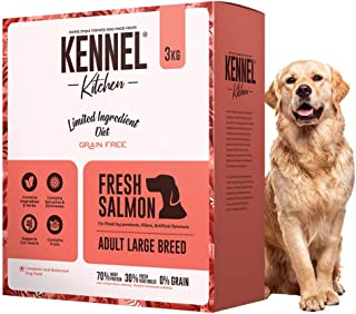 Kennel Kitchen Grain Free Dry Dog Food for Adult Large Breed Dogs, Fresh Salmon, Limited Ingredient Diet, 3 Kgs