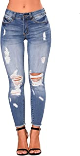 Women High Waist Skinny Stretch Ripped Jeans Destroyed Denim Pants