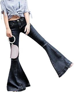 ヨーロッパ魚口ブーツカットパンツ非常に大きなジーンズ女性スリム弾力性 ガールズ (Size : 25)