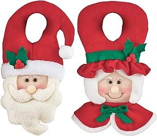 Collections Etc Mr and Mrs Claus Plush Doorknob Hanger - Fun Indoor Christmas Decoration