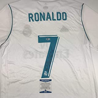Autographed/Signed Cristiano Ronaldo Real Madrid White Soccer Jersey Beckett BAS COA Auto
