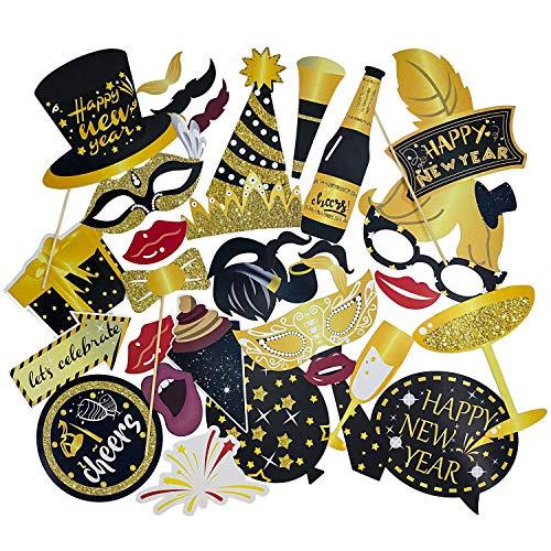 Oblique Unique® Silvester Foto Props Set Photo Booth Foto Verkleidungen Fotorequisiten mit 34 Teilen - Krone Hüte Lippen Brillen Happy New Year Sektgläser UVM.