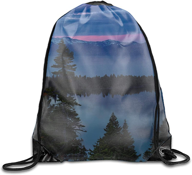 Gym Sack Bag Drawstring Backpack Lake Trees Evening South Lake Tahoe Sport Bag for Men & Women School Travel Backpack