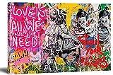 Lienzo Banksy Love is All We Need Graffiti Street Art listo en bastidor, impresión artística, decoración de pared XXL (30 x 40 cm)