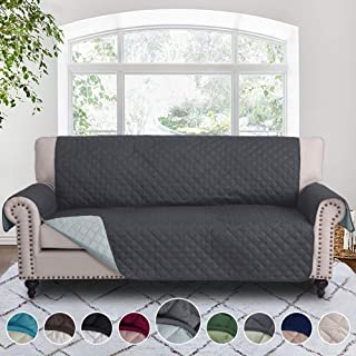 RHF Reversible Sofa Cover-Great for Home with Kids and Pets(Couch Cover for Dogs)-Features Elastic Strap (Sofa: Darkgrey/LightGrey)