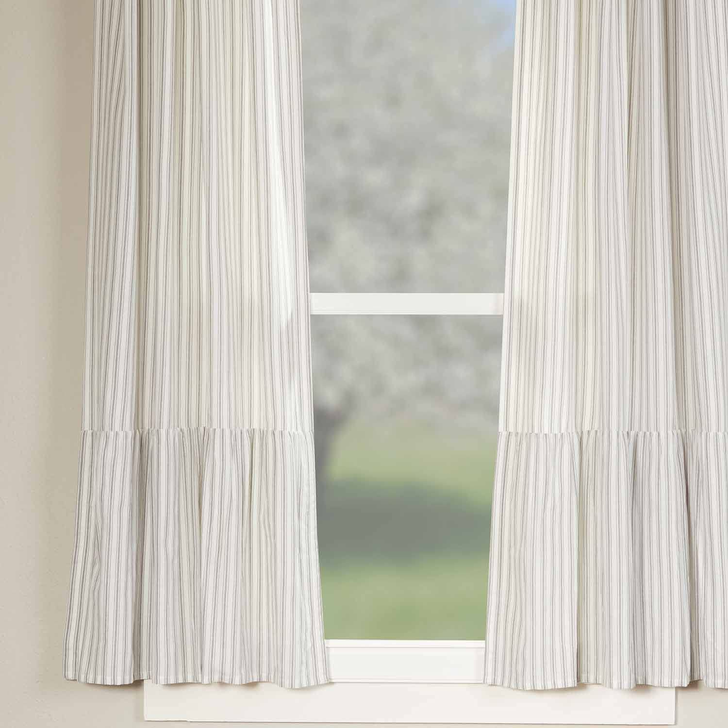 Timeless Ticking Ruffled Panel Curtains, Set of 2, 63