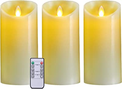 """5plots 7"""" x 3"""" Flickering Flameless Candles, Battery Operated LED Pillar Candles with Remote and Timer, Moving Dancing Flame, Ivory Wax, Set of 3"""