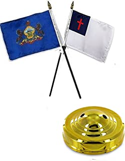 ALBATROS State Pennsylvania with Christian 4 inch x 6 inch Flag Desk Set Table Stick with Gold Base for Home and Parades, Official Party, All Weather Indoors Outdoors