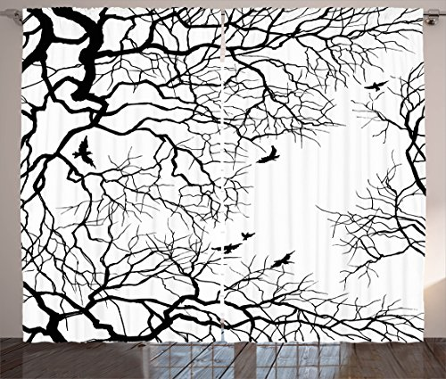 "Ambesonne Nature Curtains, Birds Flying Over Twiggy Tree Branches Autumn Season Sky View Artwork Print, Living Room Bedroom Window Drapes 2 Panel Set, 108"" X 84"", Black White"