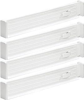 mDesign séparateur de tiroir réglable (lot de 4) – organisateur de tiroir pratique en plastique – range couverts pour tiro...