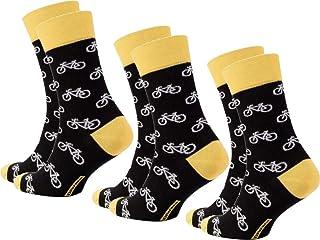 Diwari Happy - Calcetines divertidos para hombre, diseño de bicicleta, 3 unidades, talla 44/45, color negro, blanco y amarillo.