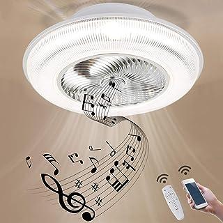 GUSICA Ventilador de Techo con Lámpara, Ventilador LED Luz de Techo con Bluetooth Control y Altavoces, 3 Velocidades Ventilador Silencioso, Luz del Ventilador de Techo para Sala de Estar,Blanco