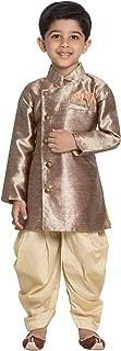 JBN Creation Boys' Gold Cotton Blend Sherwani Style Kurta Set(VASBSW121GO)