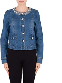 0b7c8d3e231 NEW DANCE Women's Stretch Denim Jacket Long Sleeve Round Neckline Coat with  Pearl Beading