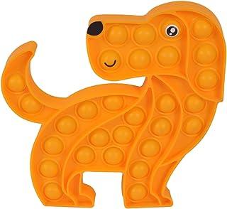 NUFR Big Orange Dog Shape Push Pop Bubble Fidget Toy, Animal Shaped Sensory Silicone Toy for Adult Kids Office